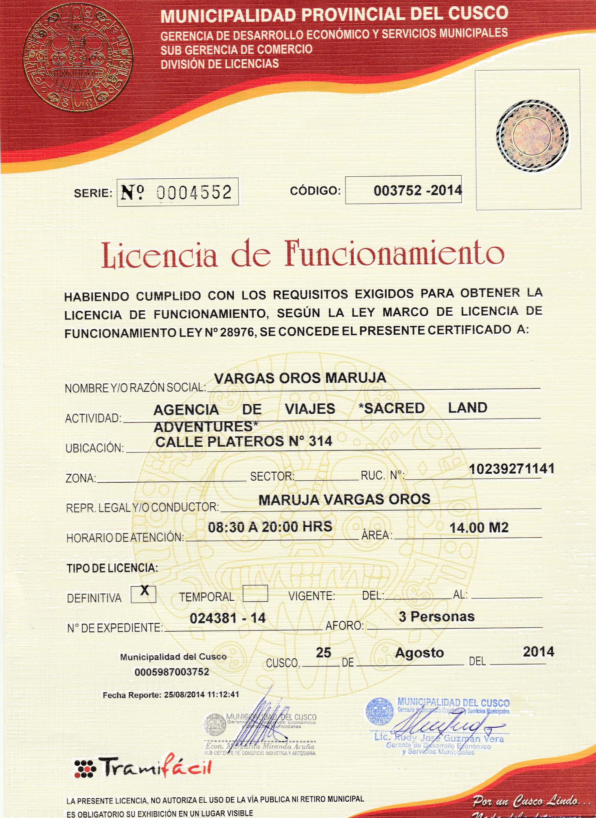 licencia de funcionamiento para inka jungle treks para los viajes en peru